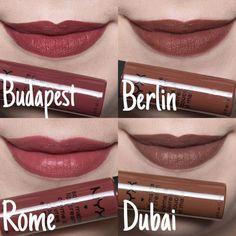 nyx soft matte lip cream berlin and Budapest Nyx Lipstick, Brown Lipstick, Lipstick Shades, Lipstick Colors, Matte Lipsticks, Makeup Swatches, Makeup Dupes, Beauty Makeup, Nyx Lip Cream Swatches