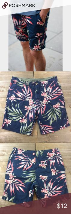 Men's Tropical Shorts Men's tropical chino shorts. Navy blue with pink and green floral details. Old Navy Shorts Flat Front