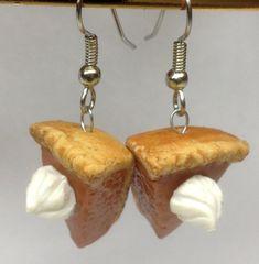 Pumpkin Pie Earrings Polymer Clay Jewelry by SaraMadeCreations