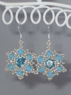 Sparkling Snowflake Earrings tutorial  Instant by BeadyNotions