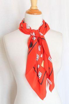 RODIER-foulard-carre-100-soie-78-cm-x-78-cm-rouge-imprimes-jeu-de-cartes