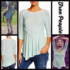 "FREE PEOPLE Tunic Layering Tee Swing Top NEW WITH TAGS   Free People Layering Tunic Peplum Tee  * Relaxed fit; Lightweight, stretch-to-fit semi-sheer knit fabric.  * Scoop neck, 3/4 sleeves, & a pullover style.  * On trend, subtly 'worn/washed' fabric w/contrasting details.  * About 27"" long for size S.  * Raw edge peplum like hem.   Fabric: 95% Polyester & 5% spandex. Color: Mint (Green) Combo Item:  No Trades ✅ Offers Considered*✅ *Please use the blue 'offer' button to submit an offer…"
