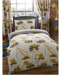 dumper trucks single duvet cover and pillowcase set toddler duvettoddler roomsboy