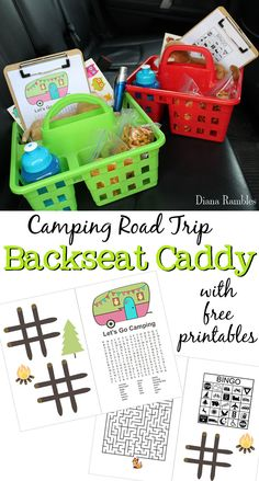 Camping Road Trip Essentials Entertainment Backseat Caddy - Going camping? Keep the kids happy with these road trip essentials in a backseat caddy. Included are free camping themed printables and ideas for keeping them occupied while traveling. [ad] #FRAMFreshBreeze