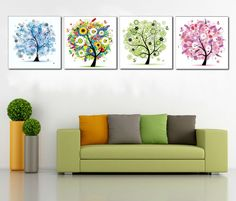 Find More Painting & Calligraphy Information about PF4023 Printed & Internal Framed 4 panel oil painting on canvas wall art pictures four season trees home decoration living room,High Quality paintings of buddha faces,China painting jesus Suppliers, Cheap painting sleeves from Oriental Artwork on Aliexpress.com