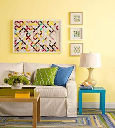 Yellow painted walls #living #room
