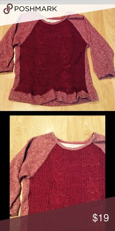 Wine colored sweater 🍷 Super cute burgundy sweatshirt with knit sweater front. No snails, snags, or pilling 😊 Lucky Brand Sweaters