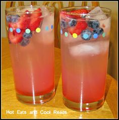 Hot Eats and Cool Reads: Sparkling Strawberry and Blueberry Vodka Lemonade Recipe