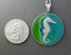 Ukraine Seahorse Coin Pendant hand painted 2003 by AnimalCoin