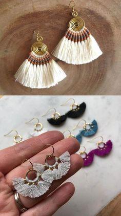 11-tassel-no-brinco Macrame Earrings, Macrame Jewelry, Crochet Earrings, Quilling Jewelry, Dulhan Mehndi Designs, Diy Bracelets Easy, Silver Jewellery Indian, Diy Tassel, Thread Jewellery