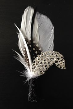 Brooch and Feather Boutonniere or Buttonhole Groom's by DecoraMood, $24.00