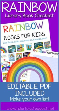 Rainbow Books for Kids with an Editable PDF Library Checklist - create your own book list! #1plus1plus1 #homeschool #homeschooling #childrensbooks #totschool #preschool #earlychildhood #booklists #rainbows