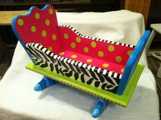 Funky Hand Painted Whimsical Wooden Cradle Zebra Print Bright And Fun Design
