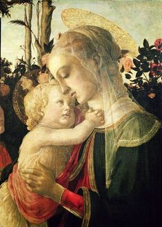 Sandro Botticelli Italian artist 1445-1510 Madonna and Child with St. John the Baptist detail of the Madonna and Child.