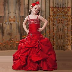 >> Click to Buy << 2017 New Red Taffeta Flower Girl Dress Spaghet Straps Little with Beads Kids Party Gowns Vestido De La Muchacha Girls Prom Dress #Affiliate