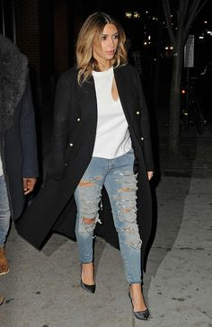 LOVE how she mixed this coat with ripped jeans and a white tee