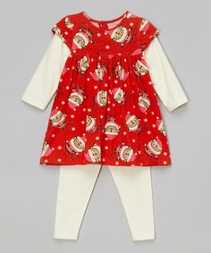 Loving this Red Santa Claus Dress & White Leggings - Infant & Toddler on #zulily! #zulilyfinds