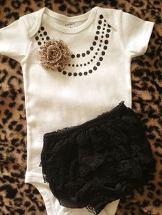 Cute baby girl gift set Necklace onesie,black ruffle bloomers,leopard chiffon flower headband set Great for Photos