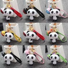 Silicone Cute Panda Cartoon Keychain Bag Pendant Key Ring Phone Accessories Gift