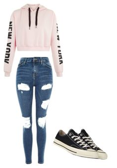 """Untitled #1"" by lilyludwick4 ❤ liked on Polyvore featuring Topshop and Converse"