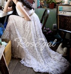 Elegant Scoop Neck Sleeveless Beam Waist Long Lace Dress For Women