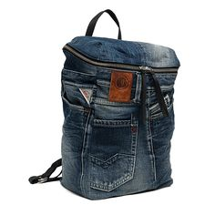 Unisex recycled denim and leather backpack