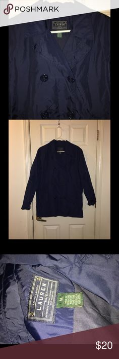 Ralph Lauren Raincoat- Peacoat Style Medium Navy blue raincoat.  Pea coat style.  Nautical anchor buttons.   Size medium.  Lined for medium-light weight warmth. Ralph Lauren.  Good condition!   Important:   All items are freshly laundered as applicable prior to shipping (new items and shoes excluded).  Not all my items are from pet/smoke free homes.  Price is reduced to reflect this!   Thank you for looking! Ralph Lauren Jackets & Coats Pea Coats