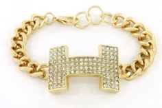 Hermes inspired bracelet w/Lobster Urban Glam Chain Crytal Pave H       Color:Clear    Size:7 + 1 inches    Material : Gold