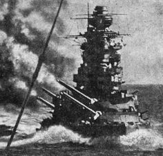 16 in Japanese Nagato class battleship Mutsu - this powerful ship was destroyed by an internal explosion in June 1943, possibly caused by a disaffected crew member.