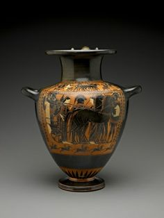 Black-Figure Hydria: Departing Warriors. Culture: Greek Date: ca. 530-510 B.C. Medium: Terracota with black glaze.