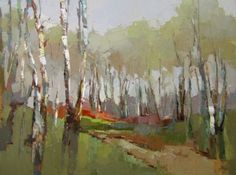 "Barbara Flowers painting - ""Birch Path""  36"" x 48"" oil - now at RS Hanna Gallery, Fredericksburg, Texas."