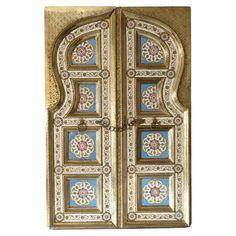 Indian Brass Enameled Shutters - Vintage Floral Repousse Enamel Window Shutter Wall Decor