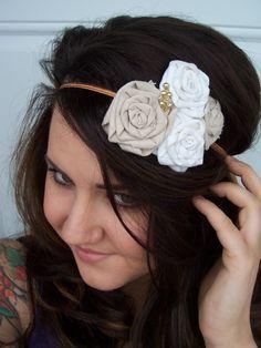 Rosette fabric flower headband