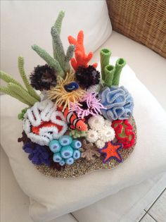 Crochet coral reef for school project