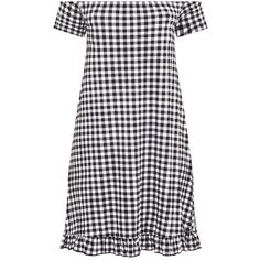 Isabeau Black Gingham Bardot Frill Hem Swing Dress (€18) ❤ liked on Polyvore featuring dresses, vestidos, swing dresses, frill hem dress, tent dress, gingham dress and flounce hem dress