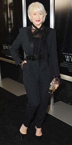 Helen Mirren's style game hasn't slipped one bit. Here, she wowed in a black tuxedo jumpsuit with a sheer polka-dot scarf tied around her neck.