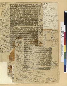 """Placards corrigés pour """"A l'ombre des jeunes filles en fleurs"""" Proust Marcel (1871-1922) ,  Ecrivain français COTE CLICHÉ13-560378N° D'INVENTAIRERES M-Y2-824 Page 426--Réunion des Musées Nationaux-Grand Palais -"""