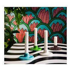 The playful designs and patterns of the IKEA TILLFÄLLE limited collection are inspired by the colors, music and dynamism of Brazil. The TILLFÄLLE candlesticks add the perfect pop of color to any space! Candlestick Holders, Candlesticks, Ikea New, Gisele Bündchen, Flirt, Christmas Table Decorations, Swedish Design, Diy Clay, Samba