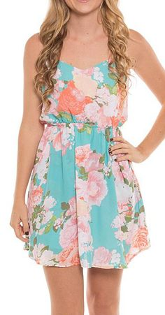 Coveted Clothing Mint & Pink Floral Cutout Dress