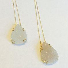 Druzy drop necklace druzy pendant 14k gold fillLarge druzy