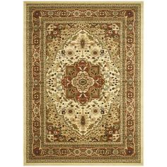 This floor rug has an ivory background and a rust border and displays stunning panel colors of burgundy, green, gold and blue.
