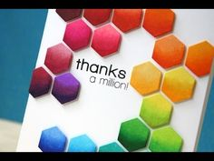 card making video tutorial: Hexagon Rainbow Card ... Copic coloring ... luv Laura's clean and graphic styling ... luv the bright colors ...