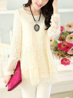 Buy Autumn Spring Lace Round Neck Asymmetric Hem Hollow Out Plain Long  Sleeve Long Sleeve T c46d4b5594