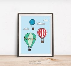 Printable wall art print - 8x10 INSTANT DOWNLOAD - red, teal, blue, and yellow, hot air balloons flying in the sky nursery decor