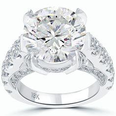 10.94 Carat F-SI2 Certified Natural Round Diamond Engagement Ring 18k White Gold #LioriDiamonds #DiamondEngagementRing
