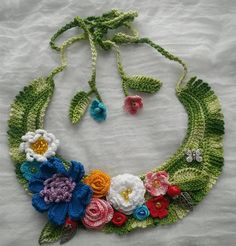 Knitted necklace 'Butterfly' beads necklace for her от ElManyEl