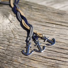 Nautical anchor necklace in stainless steel w/ colored cord, by Maris Sal, $32.00