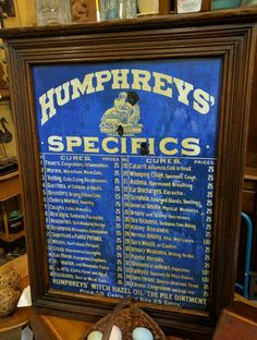 Humphreys' Specifics cabinet w 29 drawers from the 1890s! T106, $495 http://www.gaslampantiques.com/magazine/treasure.php?trId=2075#GasLampToo #GasLampToo #HumphreysSpecifics