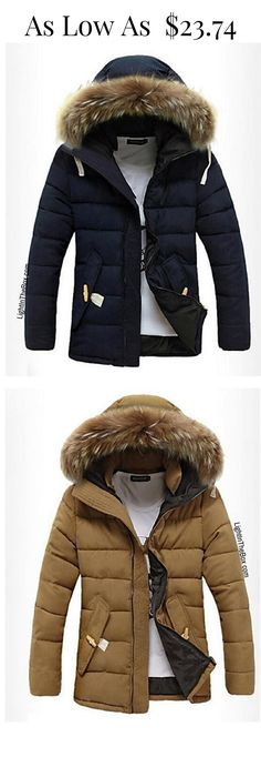 Casual sporty faux fur hoodie men down coat for cold winter. Like it? Click on the picture to shop it in navy blue, ivory white, wine marsala, brown at just $23.74