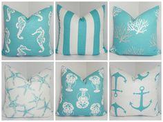 Nautical Decorative Pillow  Starfish Seahorse Stripe Coral Blue/White Beach Ocean Pillows 18x18 on Etsy, $16.00